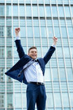 Yes, i am achieved my goals !. Portrait of a young businessman celebrating his success royalty free stock photos