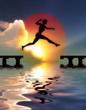 Yes, I can. Woman jump through the gap: Symbol for success, freedom, happiness and self confidence Royalty Free Stock Image