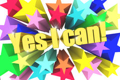 Yes I Can motto. Golden text with vivid stars Stock Photo