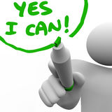 Yes I Can Person Writing Words with Marker vector illustration