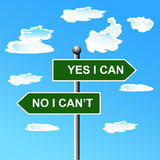 Yes I can, two-way street sign, vector illustration Royalty Free Stock Photography