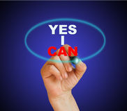 YES I CAN. Writing  words YES I CAN on gradient background made in 2d software Royalty Free Stock Image