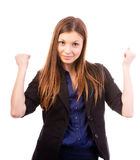 Yes i did it. Portrait of an attractive business woman with her arms raised in celebration Stock Photos
