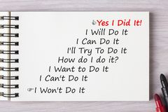 Yes I Did It Concept. Yes I Did It! written in notebook with marker pen on wooden desk.Business concept Stock Photo