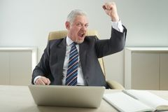 Yes, I did it. Portrait of happy senior businessman wearing classical suit sitting at office desk and showing yes gesture, interior of office on background Stock Image