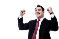 Yes, i did it. Successful male entrepreneur clenching his fists Stock Image