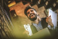 Yes I did it. Young happy businessman. Close up image of happy businessman Stock Image