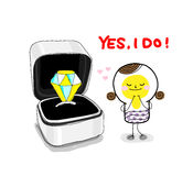 Yes, I DO!. A bulb-woman accepted a marry ring and said yes i do Stock Images