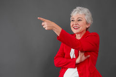 Yes, I am looking forward to the future - happy pensioner Stock Photos