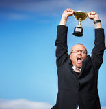 Yes I made it - Successful businessman celebrating Royalty Free Stock Images