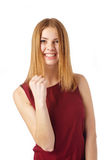 Yes! I've made it. Young happy girl gestures fist  on white background Royalty Free Stock Photo