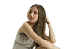 Yes i will come. Fashionable young girl with long hair taking pose stock photo