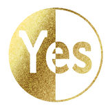 Yes Icon. In bright gold Royalty Free Stock Images