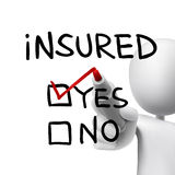 Yes insured words written by 3d man Stock Image