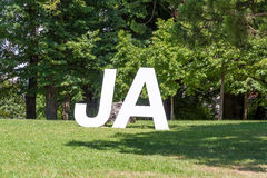 Yes / Ja, white letters Stock Photography