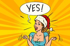 Yes joyful Santa woman. Comic book cartoon pop art retro vector illustration drawing Stock Images