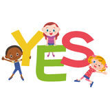 YES letter and children Stock Images