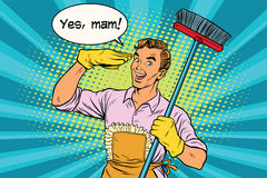 Yes mam Husband and cleaning the house Stock Photo