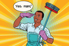 Yes mam Husband and cleaning the house Royalty Free Stock Image