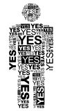 Yes man. Man consisting of the words YES and made by typography Stock Image