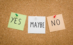 Yes maybe no concept Stock Photography