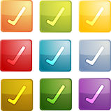 Yes navigation icon. Glossy button, square shape, multiple colors Royalty Free Stock Photo
