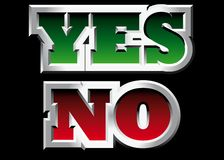 Yes and No. Vectorial metal style word Yes and No Stock Photography