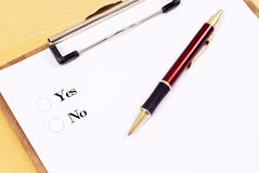 Yes Or No. Poll On Clipboard Royalty Free Stock Image