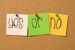 Yes Or No. Question write on the paper on the cork board Royalty Free Stock Images