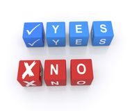 Yes or no. Text ' yes or no ' in upper case letters on two rows of small blue and red cubes respectively. There is a tick against ' yes ' and a cross against ' vector illustration