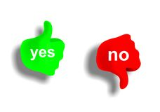 Yes and no. Green and red fist with thumb - yes and no stock illustration