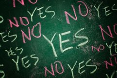 Yes and no. Concept; words written with chalk on the green board Stock Photos
