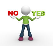 Yes or no. 3d people - man, person presents yes and no words Stock Images