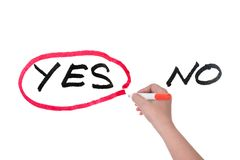 Yes or no. Choosing from yes and no concept, hand writing on white board Royalty Free Stock Photo