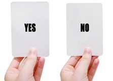 Yes/No. Flash cards stock images