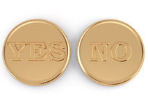 Yes or no. Golden coin for choice YES or NO Royalty Free Stock Photo