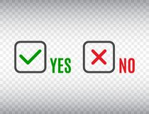 YES or NO accept and decline symbol. Check marks set on transparent background. Cancel decline. Green tick and red cross in square royalty free illustration