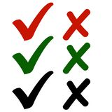 Yes or No? Agree or Not? Icons for You. Set of Modern Check Mark Icons in Red, Green & Monochrome Black Colors Isolated on White Background. Vector Illustration royalty free illustration
