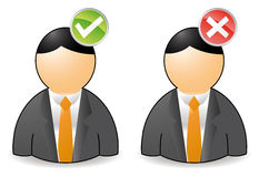 Yes no avatar. Set of two persons with ok or not ok buttons Royalty Free Stock Images