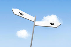 Yes or no on blue bg stock photography