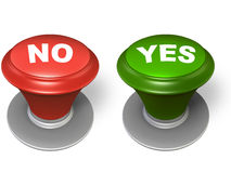 Yes and no button. Red and green button, over white background Stock Photography