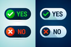 Yes and no button with check mark and cross signs. Royalty Free Stock Image