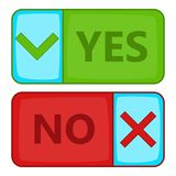 Yes and No button icon, cartoon style Stock Images
