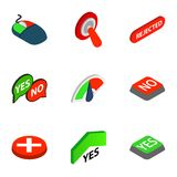 Yes and No button icons, isometric 3d style Royalty Free Stock Images