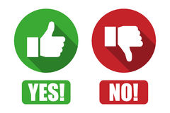 Yes and no button with thumbs up and thumbs down icons. Yes  and no button with thumbs up and thumbs down icons Stock Photography