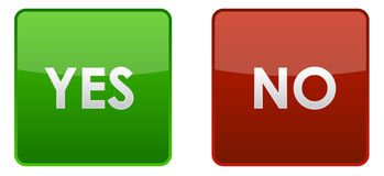 Yes and no buttons. Buttons with caption yes and no Stock Images