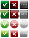 Yes/no buttons. Set of 4 different styles of yes-no buttons Royalty Free Stock Photography