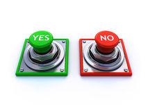 Yes and no buttons. 3d render of yes and no buttons isolated over a white background Royalty Free Stock Images