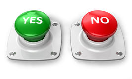 Yes and No buttons. Isolated on white background Royalty Free Stock Image