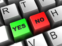 Yes and no buttons. 3d illustration of keyboard closeup, with 'yes' and 'no' buttons Royalty Free Stock Photo